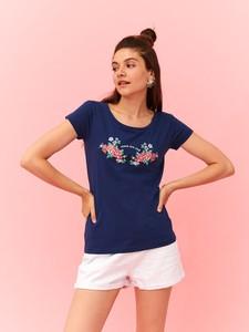 Granatowy t-shirt Top Secret z okrągłym dekoltem w stylu casual