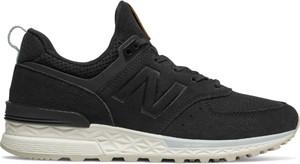 Czarne buty sportowe New Balance z płaską podeszwą z zamszu