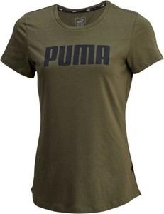 Zielony t-shirt Puma z krótkim rękawem