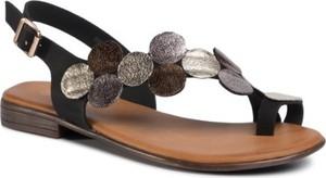 Czarne sandały Jenny Fairy z płaską podeszwą w stylu casual z klamrami