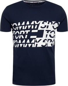 Granatowy t-shirt Tommy Sport z krótkim rękawem