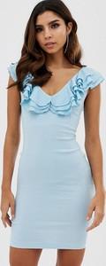 Niebieska sukienka Vesper mini z dekoltem w kształcie litery v