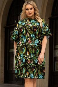 Sukienka KARKO z długim rękawem z tkaniny z okrągłym dekoltem