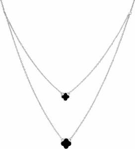 SADVA Srebrny naszyjnik z dwoma koniczynami