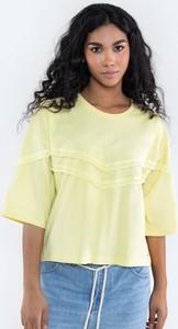 Żółta bluzka Big Star z okrągłym dekoltem w stylu boho