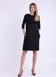 Czarna sukienka Nommo z długim rękawem z okrągłym dekoltem
