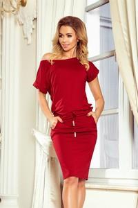 Czerwona sukienka NUMOCO z krótkim rękawem sportowa