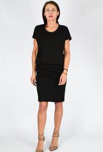 Czarna sukienka Collibri z okrągłym dekoltem z krótkim rękawem z dresówki