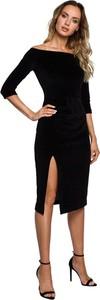 Czarna sukienka MOE z długim rękawem midi