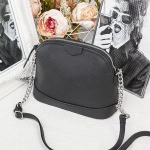 Czarna torebka Royalfashion.pl średnia w stylu glamour na ramię