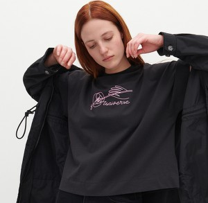 Czarny t-shirt Reserved z długim rękawem