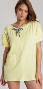 Żółta bluzka Renee z okrągłym dekoltem w stylu casual