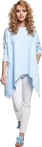 Niebieska bluzka MOE z okrągłym dekoltem z długim rękawem