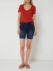 Czerwona bluzka Only z krótkim rękawem z dżerseju w stylu casual