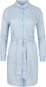 Niebieska sukienka Pepe Jeans z kołnierzykiem z długim rękawem mini