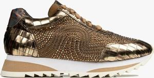 Złote buty sportowe Alma en Pena sznurowane