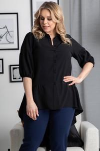 Czarna koszula KARKO z tkaniny z długim rękawem w stylu casual