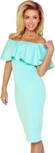 Niebieska sukienka NUMOCO z odkrytymi ramionami midi