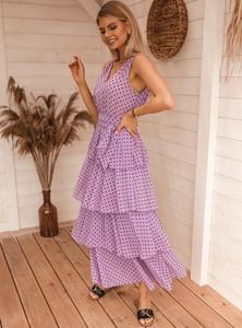 Fioletowa sukienka SELFIEROOM bez rękawów