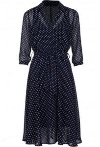 Niebieska sukienka VISSAVI w stylu casual z długim rękawem midi