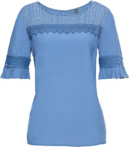 Niebieska bluzka bonprix RAINBOW z krótkim rękawem