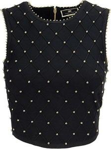 Czarna bluzka Elisabetta Franchi z okrągłym dekoltem