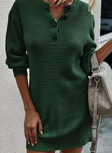 Zielona sukienka Cikelly w stylu casual z długim rękawem z dekoltem w kształcie litery v