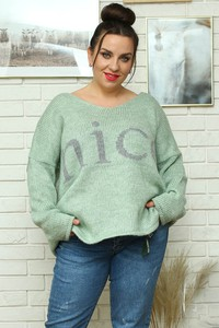 Zielony sweter KARKO z dzianiny