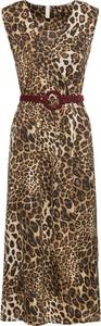 Brązowa sukienka bonprix BODYFLIRT boutique z okrągłym dekoltem w street stylu maxi