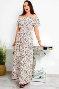 Sukienka Olika z krótkim rękawem maxi z okrągłym dekoltem