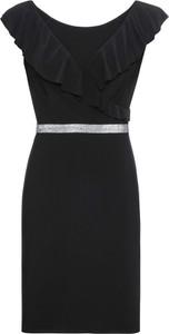 ebeb6756 Czarna sukienka Reserved z okrągłym dekoltem z krótkim rękawem