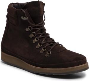 Brązowe buty zimowe FLY London sznurowane