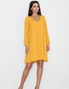 Żółta sukienka Figl z długim rękawem trapezowa