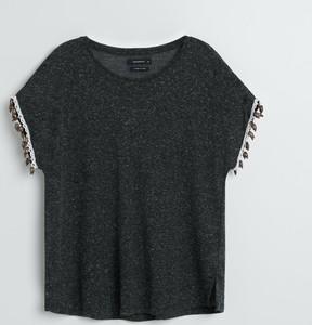 Czarna bluzka Reserved z okrągłym dekoltem w stylu casual z krótkim rękawem