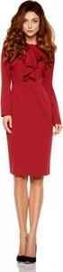 Czerwona sukienka Lemoniade z szyfonu midi z żabotem