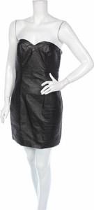 Czarna sukienka H&M mini gorsetowa ze skóry