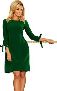 Sukienka NUMOCO trapezowa z okrągłym dekoltem z długim rękawem