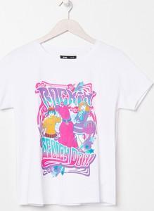 T-shirt Sinsay w młodzieżowym stylu z bawełny z okrągłym dekoltem
