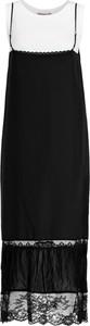 Czarna sukienka Twinset midi z dekoltem w karo
