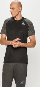 Czarny t-shirt Adidas Performance z krótkim rękawem
