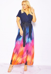 Sukienka Sukienki M&M z krótkim rękawem z dekoltem w kształcie litery v maxi