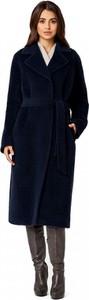 Granatowy płaszcz POTIS & VERSO z zamszu w stylu casual