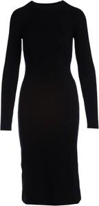 Czarna sukienka Multu w stylu casual dopasowana midi