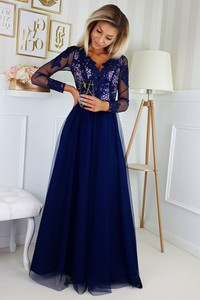 Niebieska sukienka Bicotone z dekoltem w kształcie litery v rozkloszowana