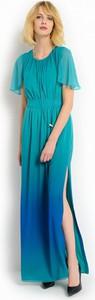Zielona sukienka POTIS & VERSO z szyfonu maxi z okrągłym dekoltem