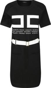 Czarna sukienka Elisabetta Franchi w stylu casual z okrągłym dekoltem