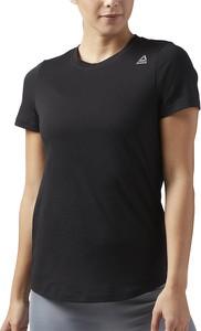 Czarna bluzka Reebok z okrągłym dekoltem z bawełny z krótkim rękawem