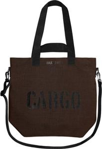 Brązowa torebka CARGO by OWEE z nadrukiem na ramię w młodzieżowym stylu