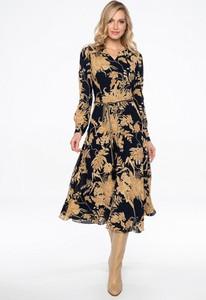 Granatowa sukienka POTIS & VERSO z długim rękawem