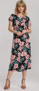 Sukienka Renee z okrągłym dekoltem z krótkim rękawem midi